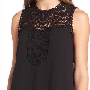 NWOT Halogen Black Sleeveless Lace & Crepe Top XL